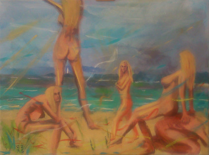 Five Nudes on Porthkidney Sands 