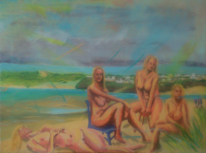 Four nudes on Porthkidney Sands 